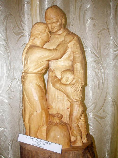 Wooden sculpture in a museum