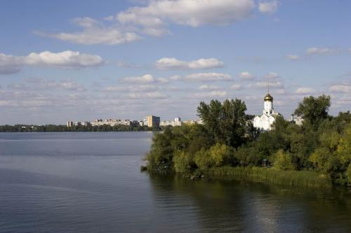 View on the Monastyrskyi (Monastery) island from the bridge