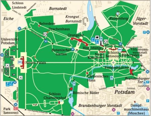 Map of the Sanssouci park in Potsdam