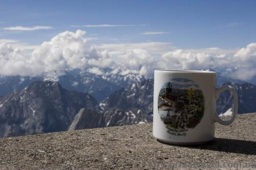 Souvenir cup on Mount Zugspitze