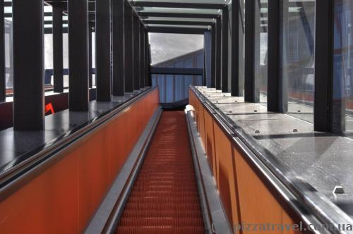 Escalator in the tourist center of the Zollverein mine