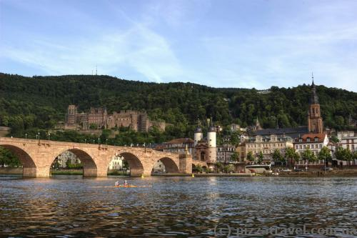 View of old bridge and castle in Heidelberg