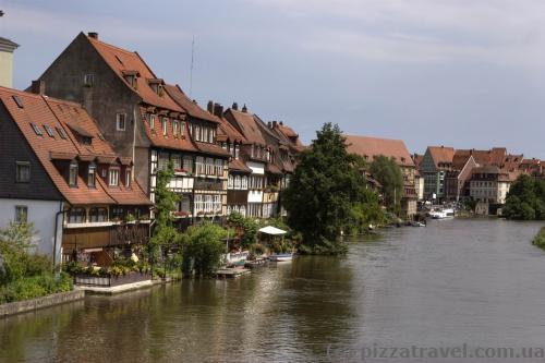 Little Venice on the Regnitz river in Bamberg