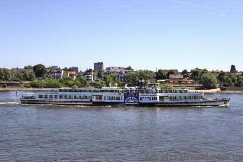 Pleasure boat on the Rhine in Bonn