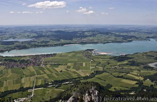View of the Forggensee Lake from Mount Tegelberg