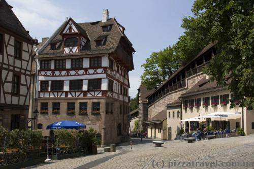 On the right is a city wall of Nuremberg.