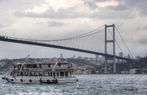 View of the Bosphorus bridge from the Beylerbeyi Palace