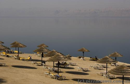 Mariott hotel beach at the Dead Sea
