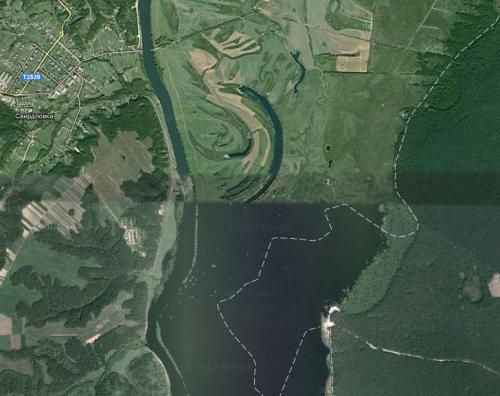 This image from Google Maps clearly shows the size of the Desna in spring.