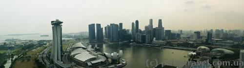 View of Marina Bay Sands from the top of the ferris wheel