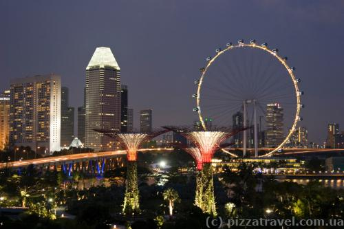 Gardens by the Bay and ferris wheel in Singapore