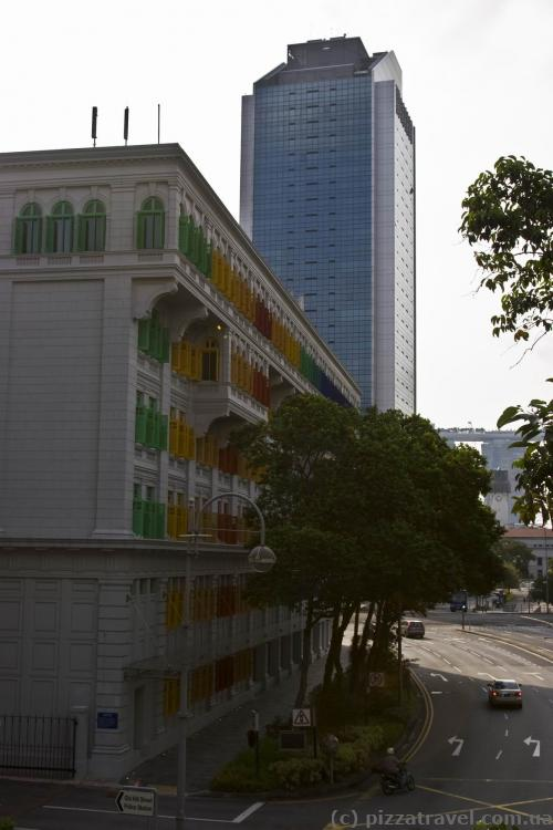 House with colored windows near Clarke Quay