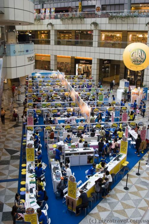 A huge number of travel agencies in Suntec City